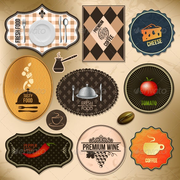 vintage food labels set sample download
