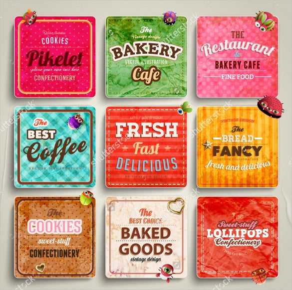 set of retro bakery labels ribbons and cards for vintage design