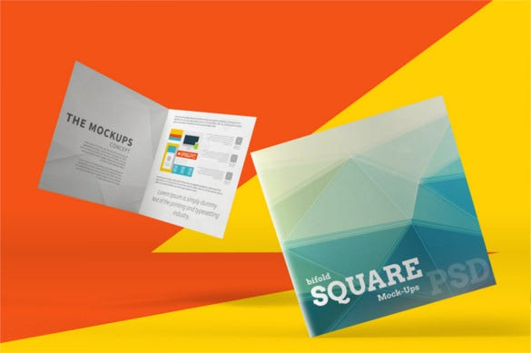 square bi fold brochure mockups psd download