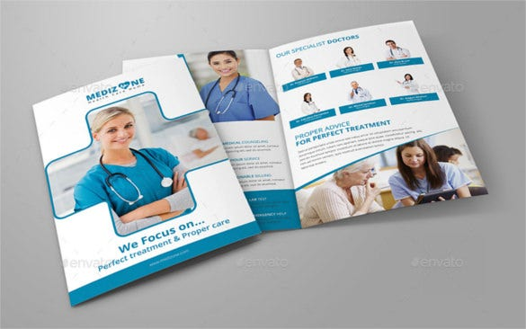 medical bi fold brochure template psd download