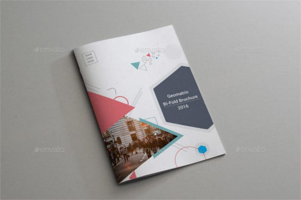 geometric bi fold brochure indesign format download