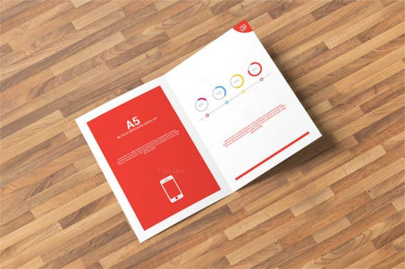 bi fold brochure mock up template psd design download