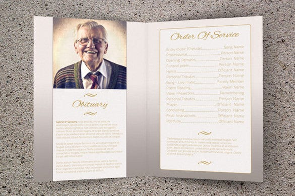 Printable bi fold brochure templates 79 free word psd for Funeral brochure template