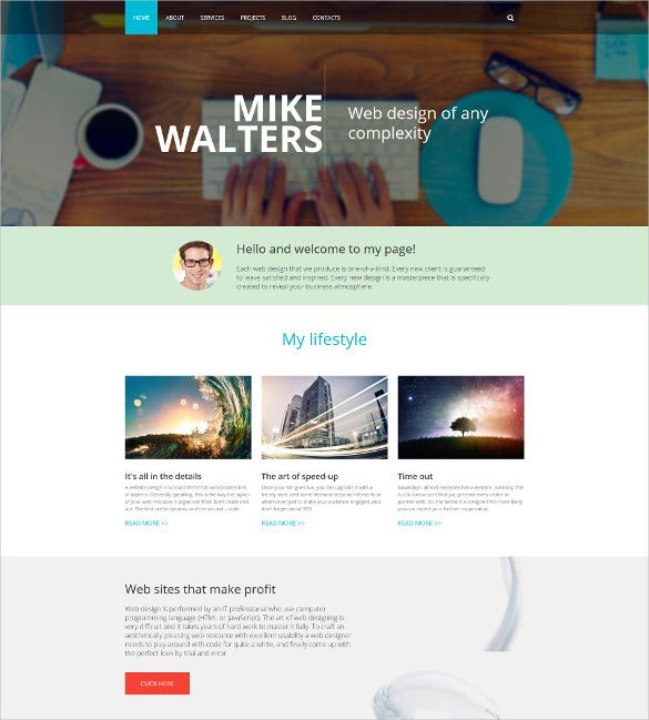 personal page drupal blog template