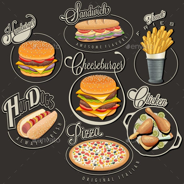 sample retro food labels