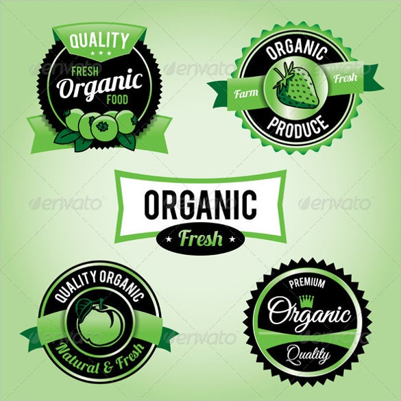vector organic food labels and badges sample example format template download