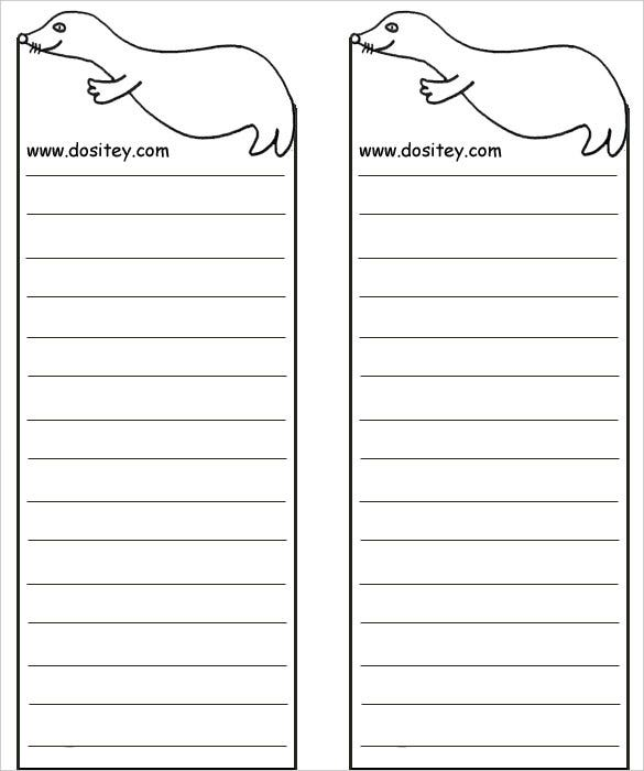 Bookmark Template For Word | Free Sea Animals Blank Bookmark Template Download