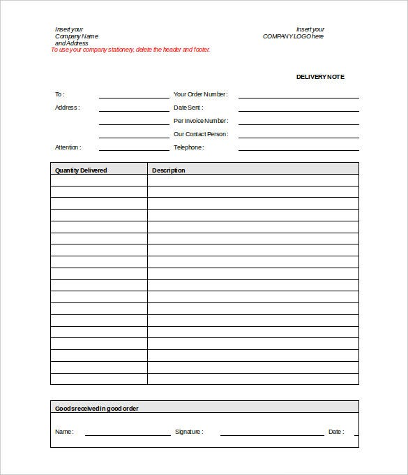 Doc.#600812: Delivery Order Template – Delivery Note Template For