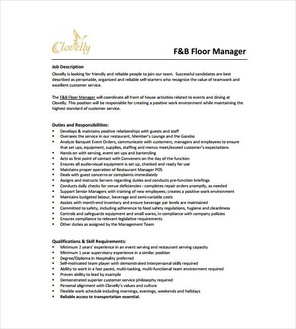 Restaurant Manager Job Description Templates 10 Free Sample – Job Description Template Word