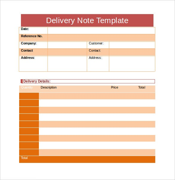 Delivery Note Template   Free Word Pdf Format Download