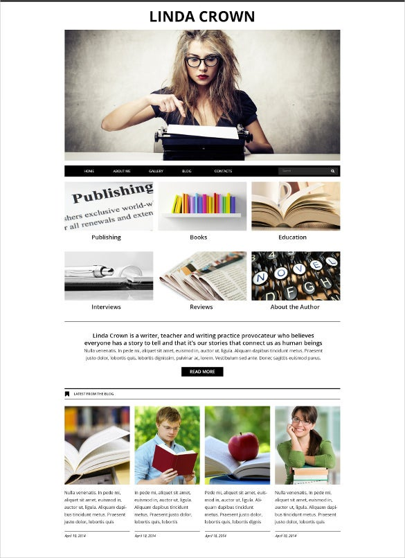 personal writers page joomla blog template1