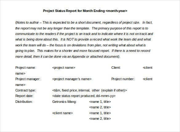monthly project status report template