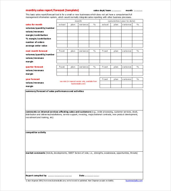 Monthly Report Templates  Free Sample Example Format
