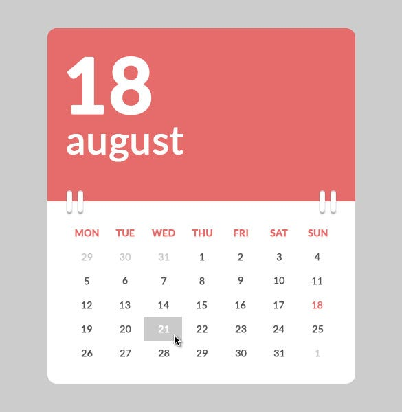 yearly calendar in psd html css format download