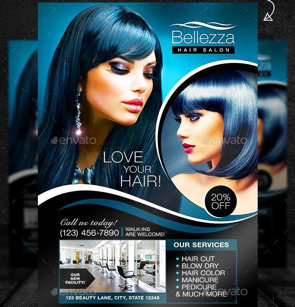 Hair Salon Flyer Template Photoshop PSD Download