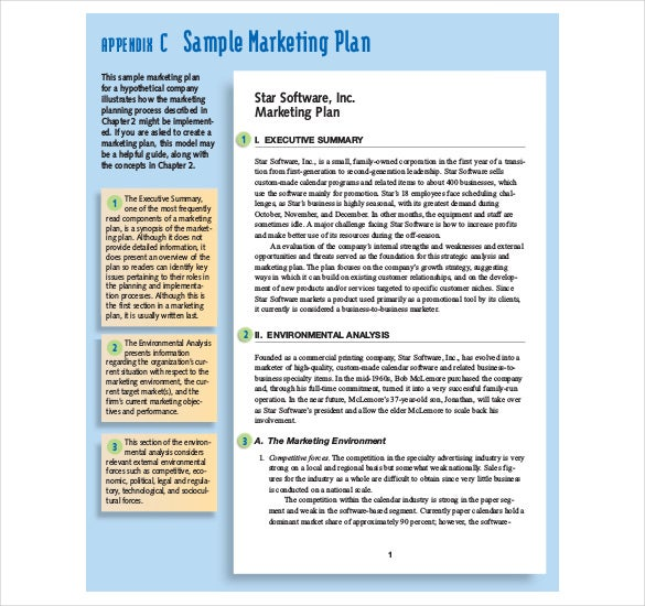 sample marketing plan pdf format template