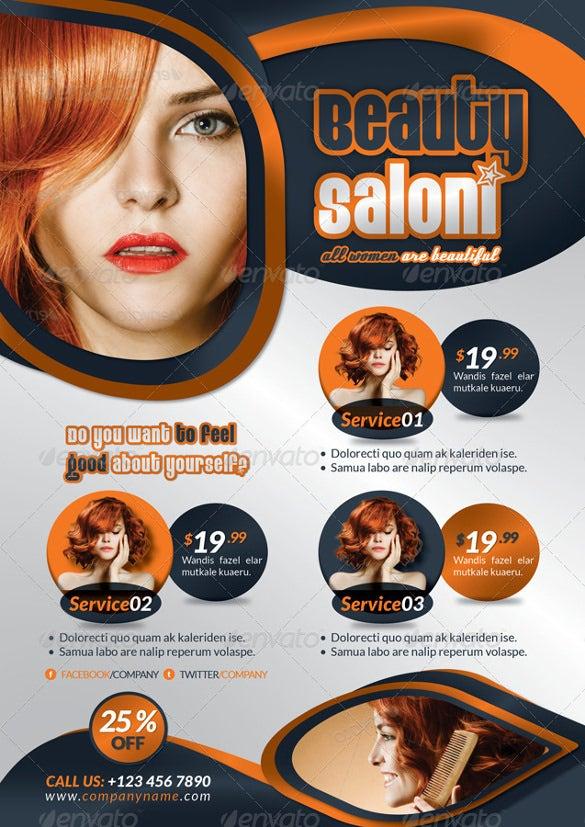 professional beauty salon flyer template indd format
