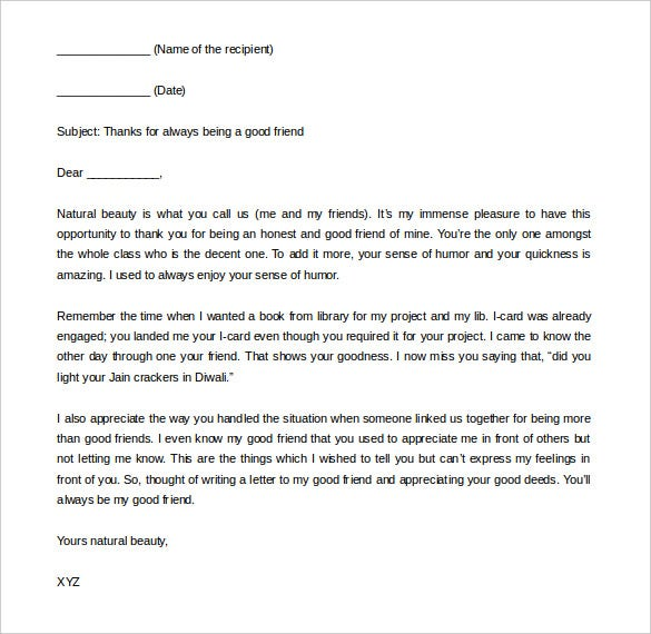 36+ Friendly Letter Templates – Free Sample, Example Format Download ...