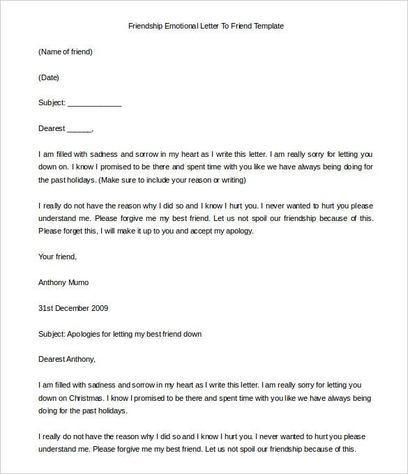 letter to a friend template