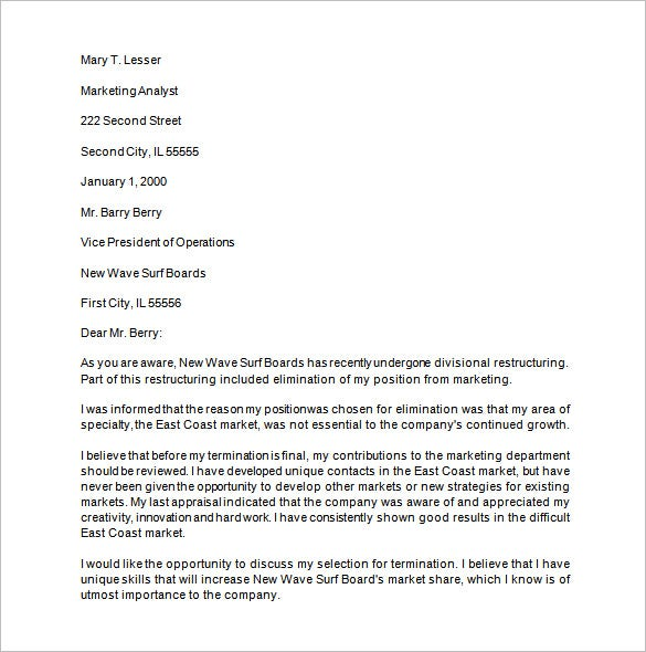15 job termination letter templates free sample example format workplacefairness if you think that it was unjust for the company to fire you and you want to appeal them to take back the decision then you can use spiritdancerdesigns Gallery