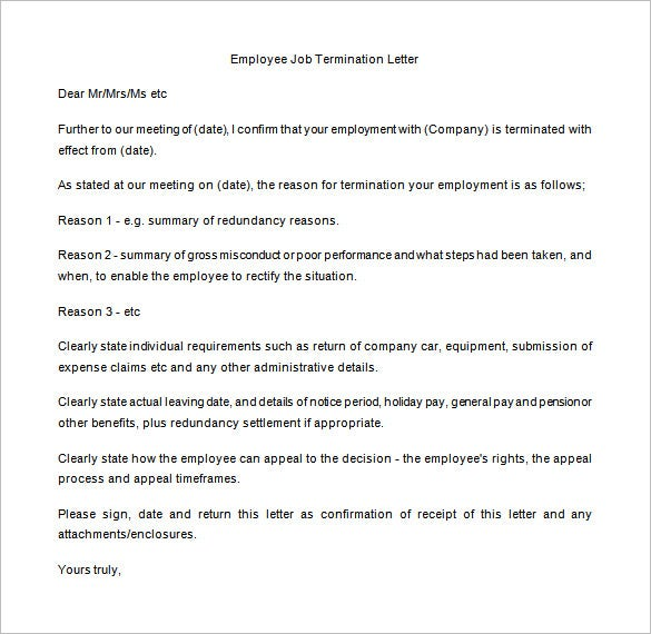 Sample Manager Job Termination Letter Template Free Printable  Employment Termination Letter Template