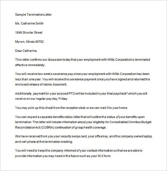 15 job termination letter templates free sample example format humanresourcesabout the job termination letter to fire an employee example is a simple and well drafted sample job termination letter template which altavistaventures