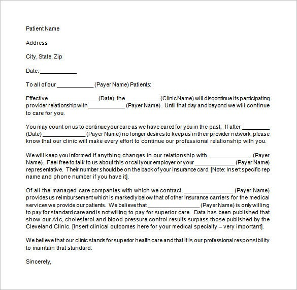 patient notification of contract termination letter sample