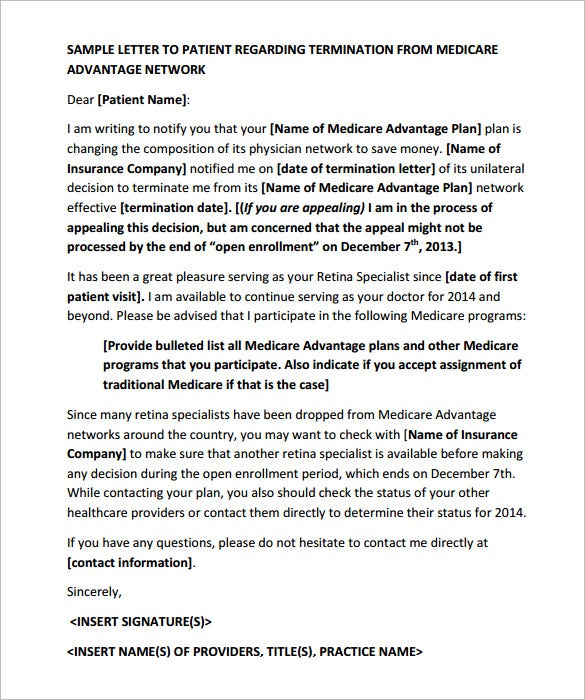9 patient termination letter templates free sample example asrs if there is a problem with the insurance company which has led you to terminate the doctor patient relation then you have to use the sample spiritdancerdesigns Image collections