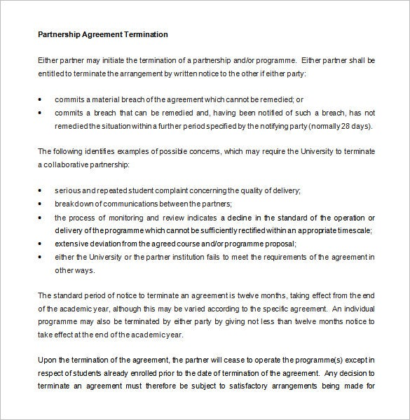 10 Partnership Termination Letter Templates Free Sample – Simple Business Partnership Agreement