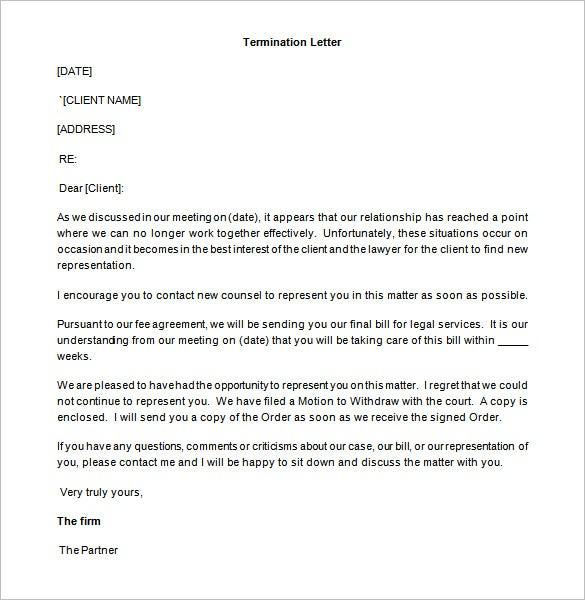 sample partner termination letter template word format