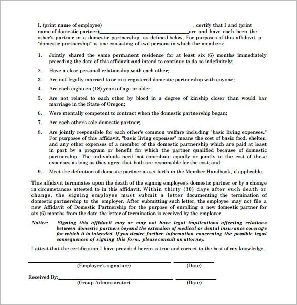 affidavit of domestic partnership letter template pdf