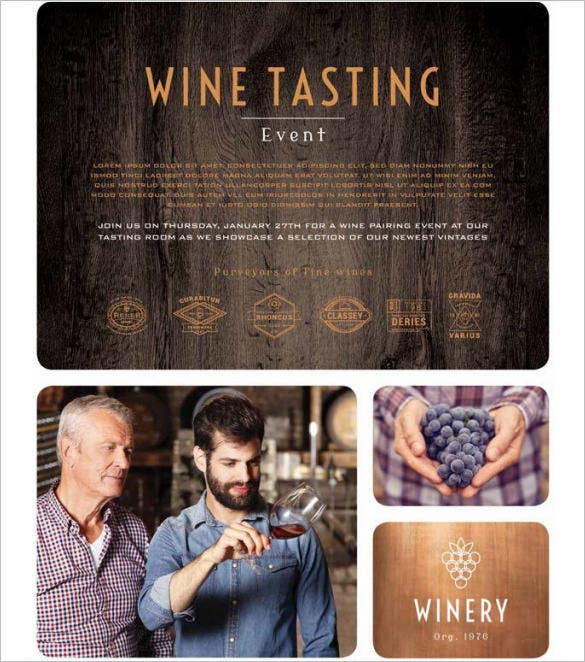 winery restaurant flyer template download