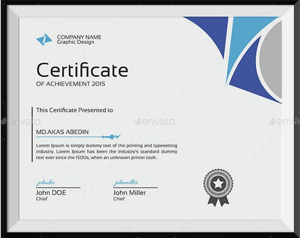 achievement certificate template from company