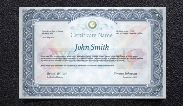 psd print certificate template free download