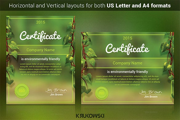 download natural certificate template psd design
