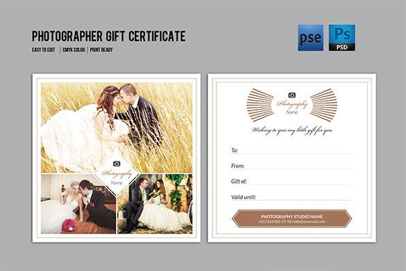 download photographer gift certificate template pdf format
