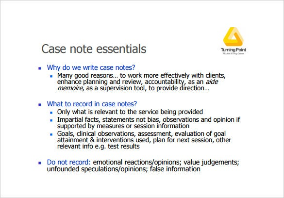 case notes for aod services pdf template free download
