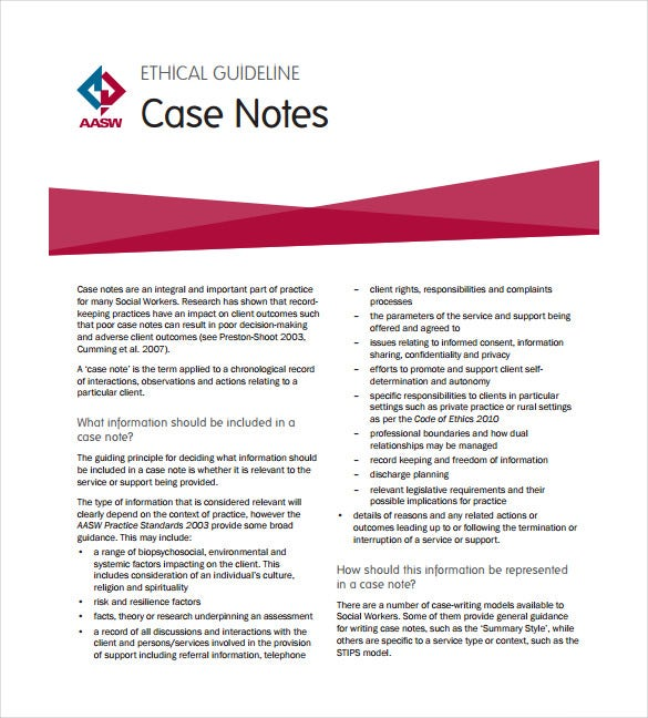 7 case notes templates free sample example format for Social work case notes template