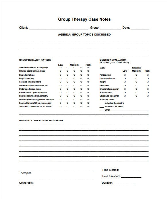 group therapy case notes pdf template free download