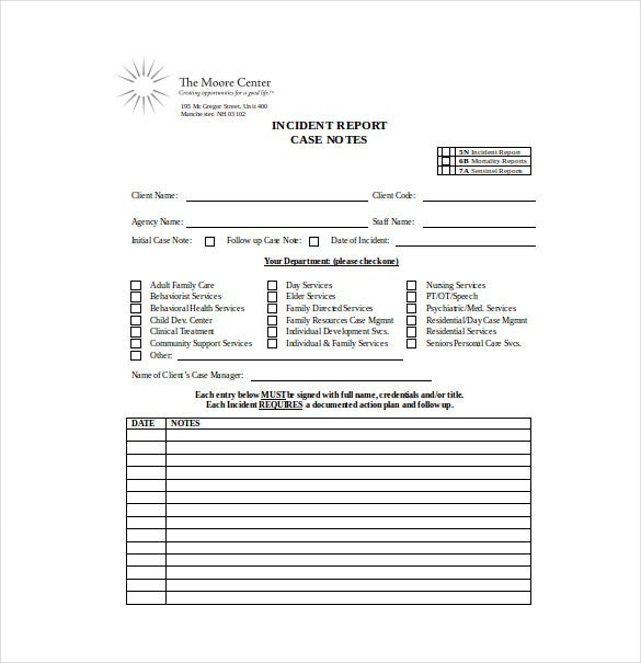 Case notes template 7 free word pdf documents download for Social work case notes template