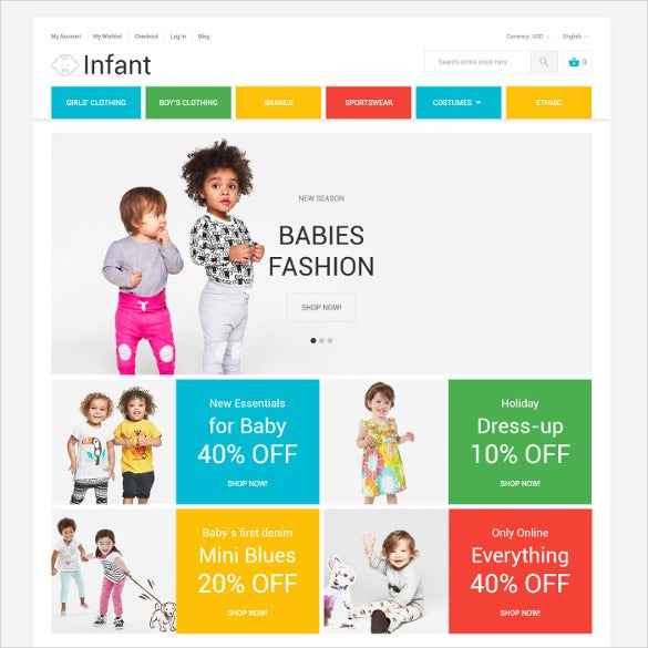 infant fashion magento ecommerce theme