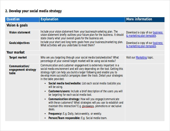 Social Media Strategy Templates  Free Sample Example Format