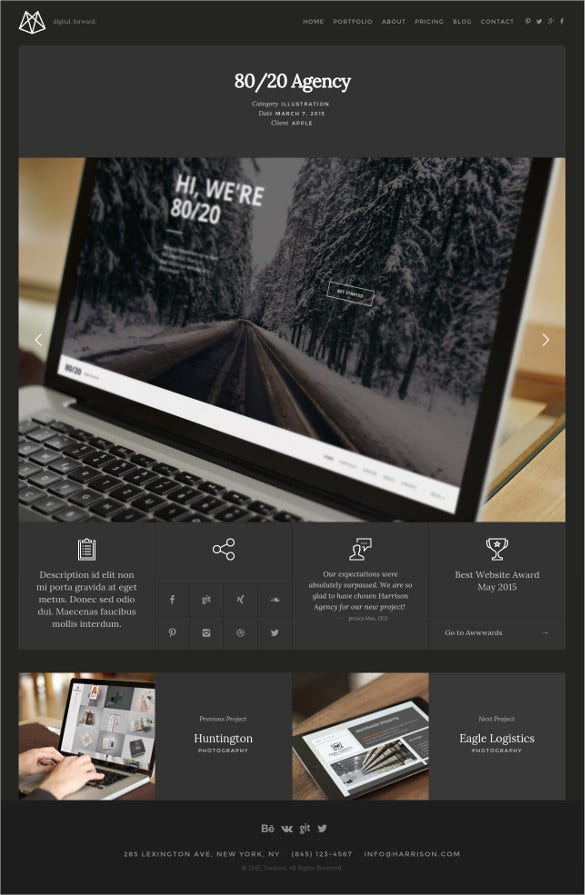 personal one page portfolio html5 template