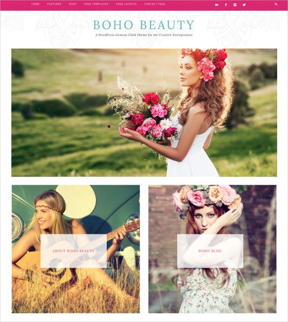boho mobile responsive wordpress ecommerce template