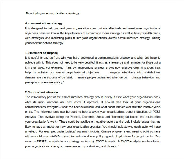 11 communication strategy templates free sample example format developing a communications strategy example free template altavistaventures Image collections