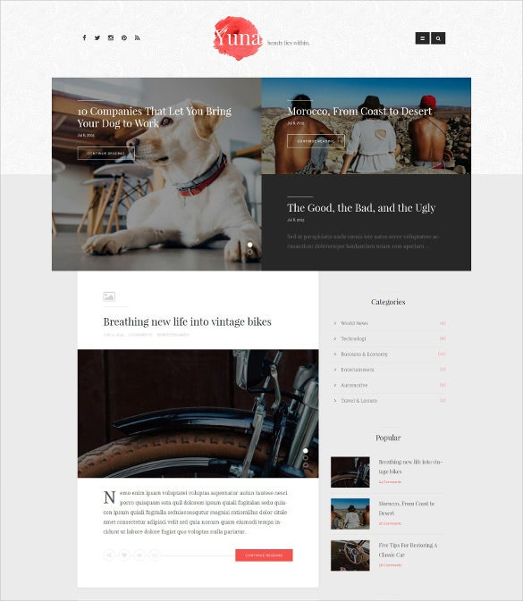 simple personal blog html5 template