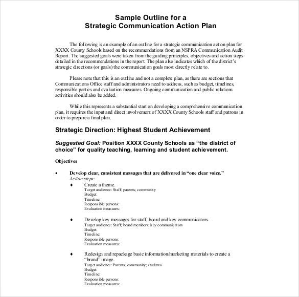 sample strategic commnication action plan pdf format template