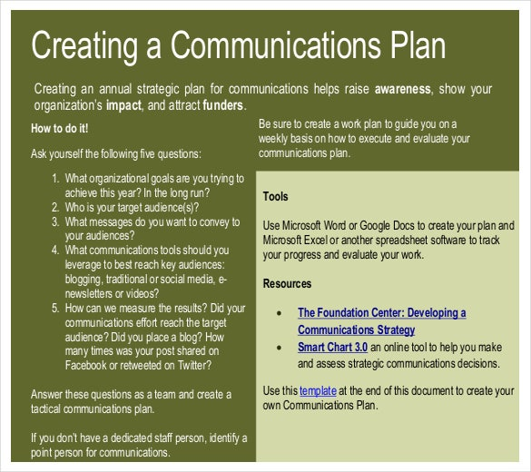 Sample Communication Strategic Plan Template For NGOs PDF Format