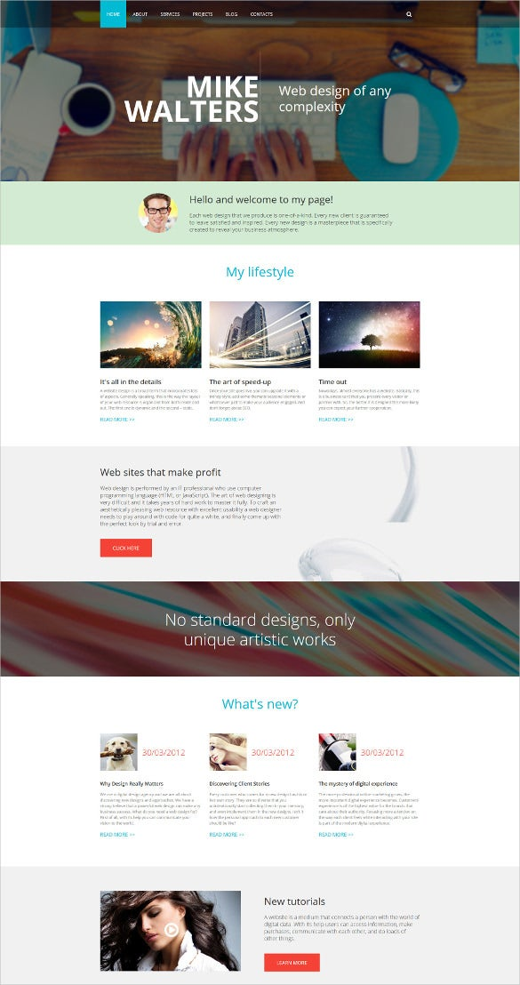 personal page drupal html5 template