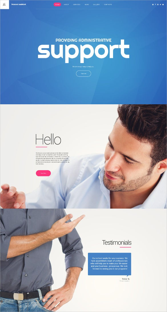 personal assistant html5 website template